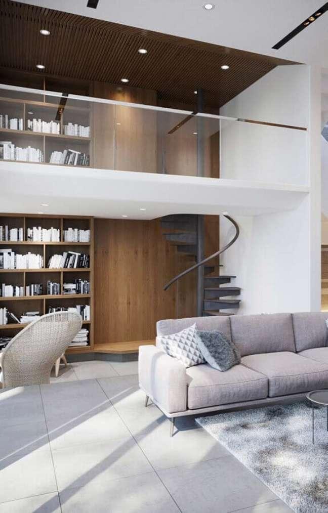 36. Cores de casas modernas para sala branca decorada com estante planejada de madeira – Foto: Archtict Art