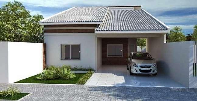 18. Fachada de casas simples com garagem. Fonte: Decorando Casas
