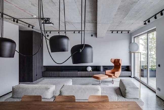 49. Cores de tinta para casas modernas decorada com poltrona marrom para sala cinza – Foto: Architonic