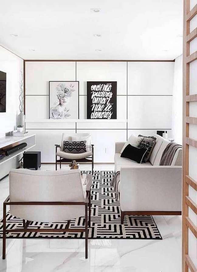 39. Cores de casas modernas para sala clean decorada com tapete geométrico – Foto: Cute & Paste