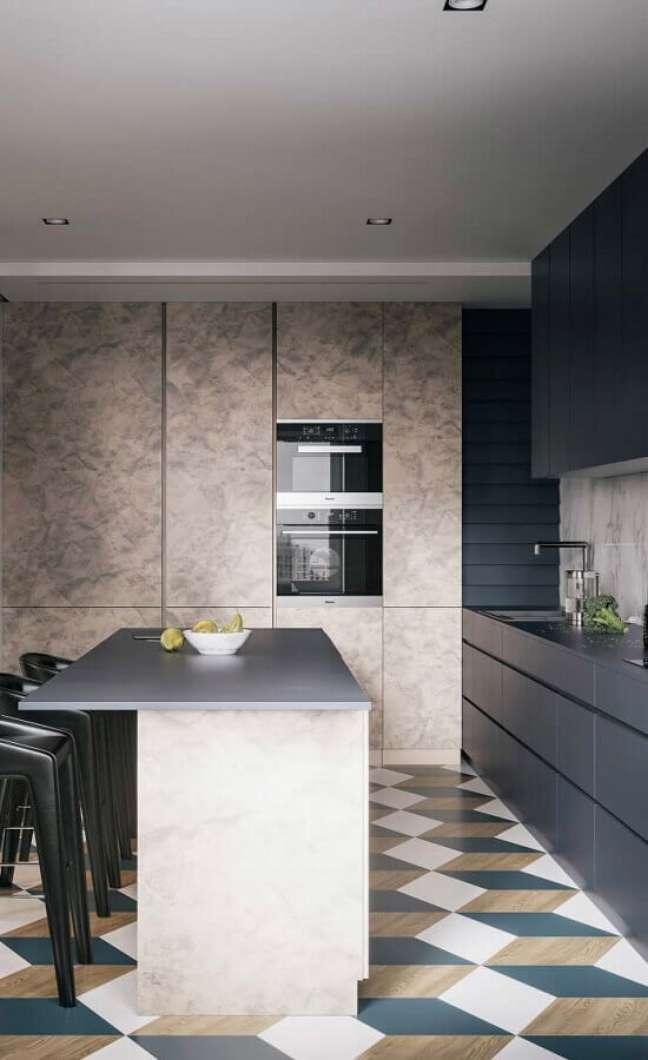 15. Cores de casas modernas com cozinha cinza planejada com piso geométrico colorido – Foto: Futurist Architecture