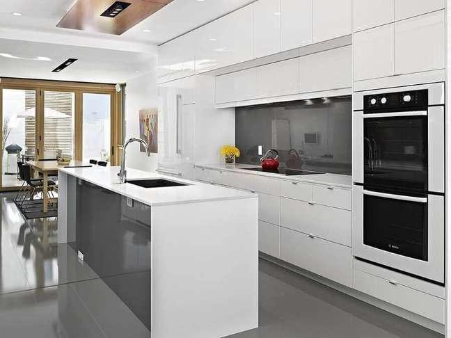 33. Cores de casas modernas para decoração de cozinha planejada cinza e branca – Foto: Lacantina Doors