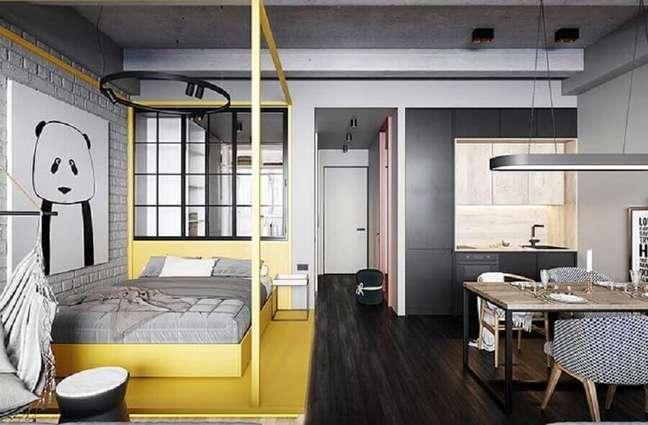 54. Decoração com cores modernas de casas conceito aberto cinza e amarela – Foto: Cartelle Design