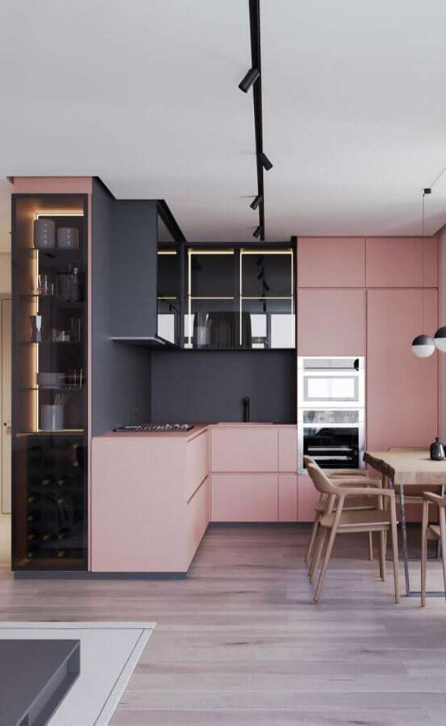 47. Cores de casas modernas planejada com cozinha cinza e rosa – Foto: Futurist Architecture