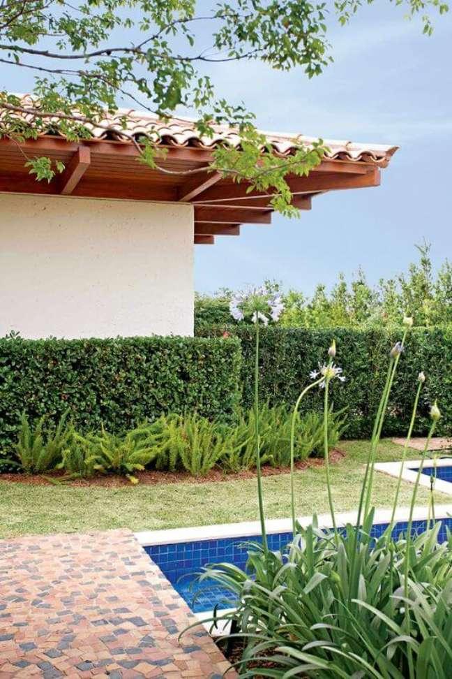 20. Ideias de jardim com cerca viva na área da piscina – Foto Revista Casa e Jardim