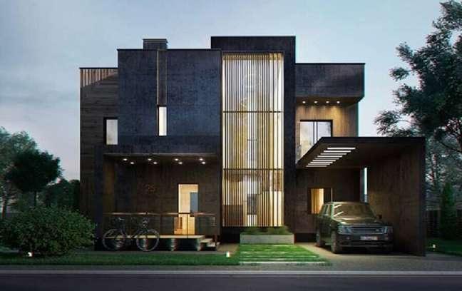 58. Revestimento preto para cores de casas modernas externas – Foto: Decor Fácil