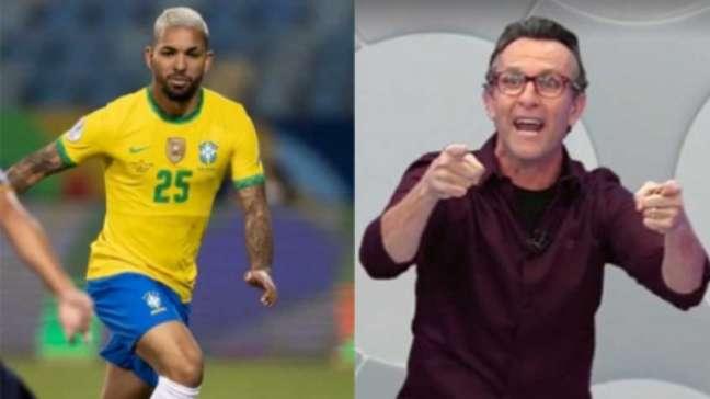 Neto criticou convocação de Douglas Luiz, que retrucou a fala do apresentador (Montagem LANCE!)
