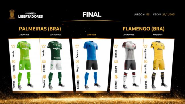 Palmeiras e Flamengo tiveram seus uniformes para a final da Libertadores divulgados pela Conmebol (Foto: Divulgação/Conmebol)