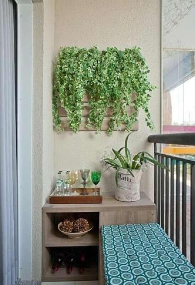 8. Barzinho planejado para decoração de varanda pequena – Foto: Adriana Fontana