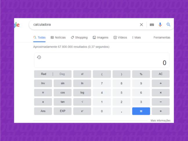 A calculadora científica do Google