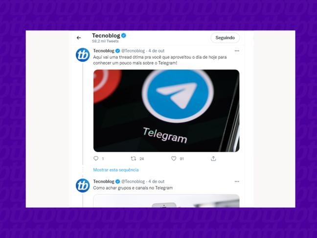 A sequência de Tweets é ideal para conteúdos extensos e complexos.