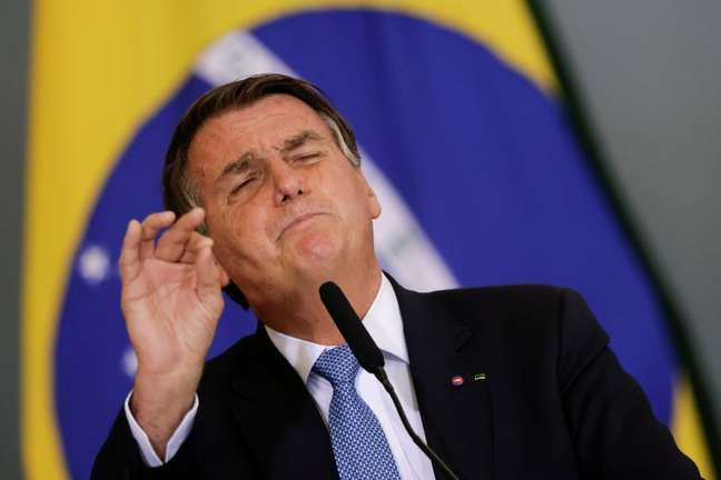 Presidente Jair Bolsonaro durante cerimônia no Palácio do Planalto 07/10/2021 REUTERS/Ueslei Marcelino