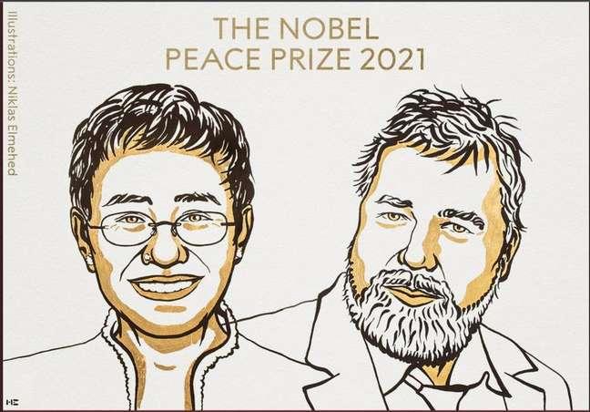 Ilustração mostra Maria Ressa e Dmitry Muratov, vencedores do Nobel da Paz de 2021