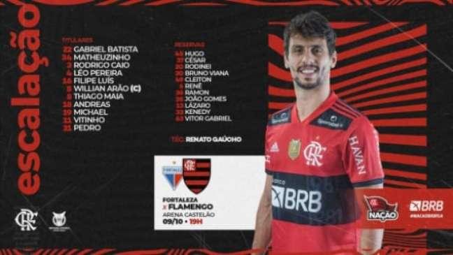 A escalação e o banco do Flamengo (Foto: Divulgação / CRF)