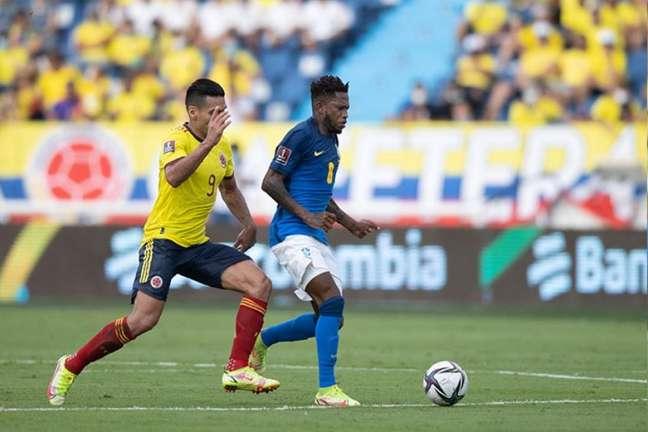 Fred jogou os 90 minutos contra a Colômbia em Barranquilla (Lucas Figueiredo / CBF)