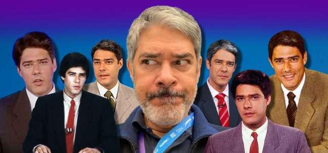 Bonner em diferentes fases de seus 35 anos na Globo: uma carreira bem-sucedida com muitos bônus e ônus
