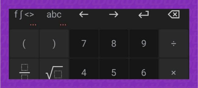 Teclado da calculadora do PhotoMath