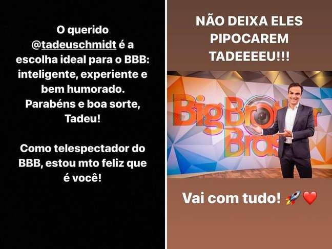 Tiago Leifert posta mensagem para Tadeu Schmidt nos stories do Instagram
