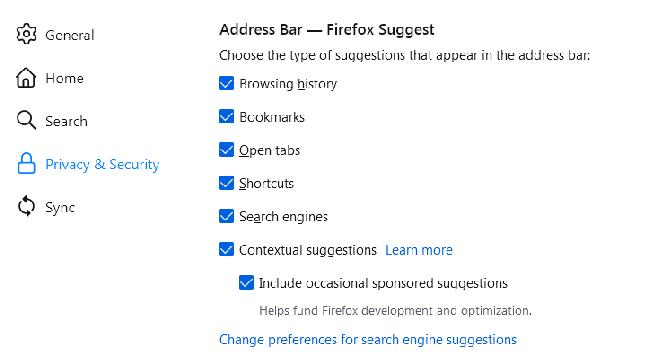 Configurações do Firefox Suggest
