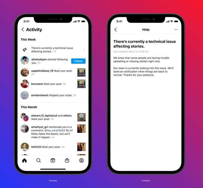 Notificação do Instagram avisa sobre problemas técnicos na plataforma