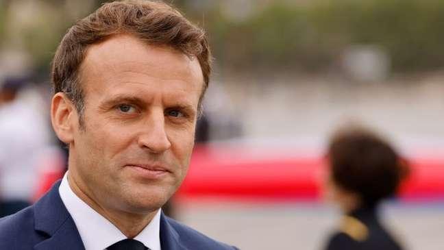 O presidente da França, Emmanuel Macron, lidera as pesquisas para a reeleição