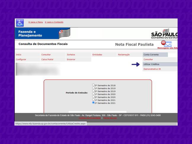 Menu da Nota Fiscal Paulista