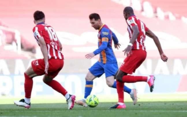 Messi em ação contra o Atlético de Madrid na última temporada (Foto: Divulgação / Barcelona)