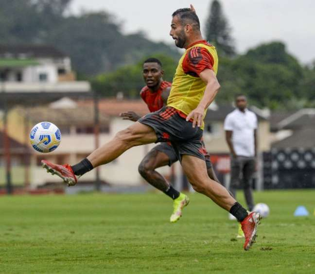O meia Thiago Maia durante atividade do Flamengo (Foto: Divulgação/Flamengo)