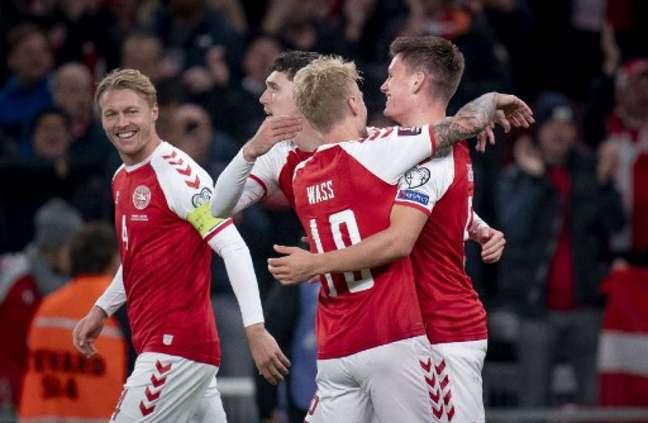 Dinamarca venceu a Áustria pelas Eliminatórias (Foto: LISELOTTE SABROE / RITZAU SCANPIX / AFP)