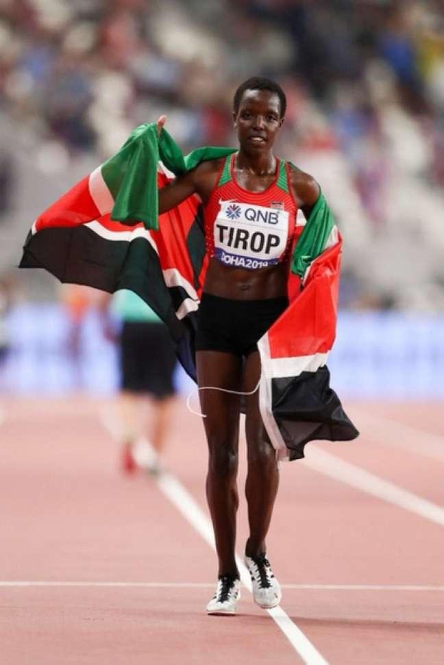 Agnes Jebet Tirop foiquarta colocada dos 5.000m nas Olimpíadas de Tóquio (Foto: Reprodução/Twitter)