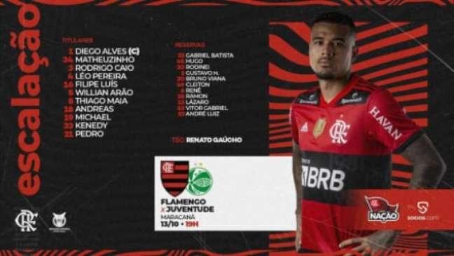 Escalação do Flamengo para enfrentar o Juventude (Foto: Divulgação / CRF)