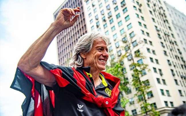 Jorge Jesus conquistou o Brasileiro, Libertadores e Carioca pelo Flamengo (Foto: Marcelo Cortes / Flamengo)