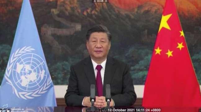 Presidente da China, Xi Jinping, discursa para conferência da ONU sobre biodiversidade em Kunming 12/10/2021 Secretariado da Convenção sobre Biodiversidade/Divulgação via REUTERS