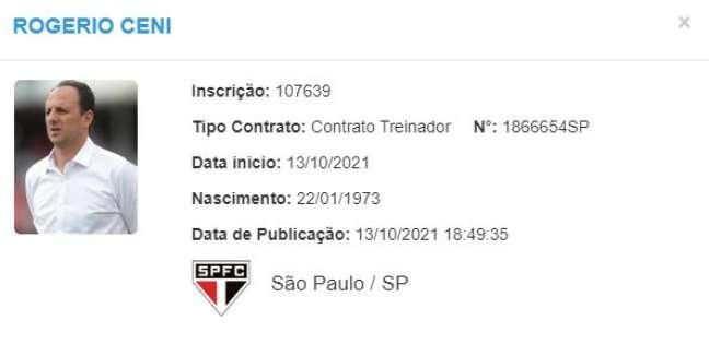 Rogério Ceni teve seu nome regularizado no BID nesta quarta-feira. (Foto: Reprodução)
