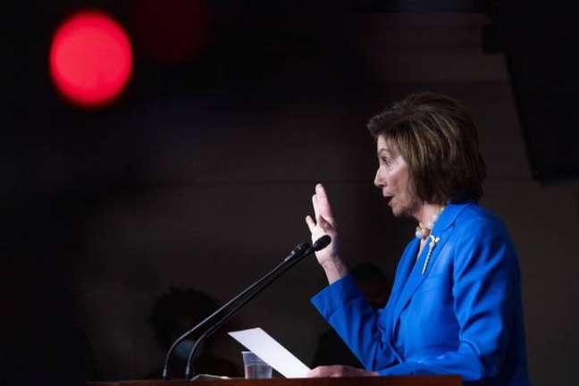 A presidente da Câmara dos Representantes dos EUA, Nancy Pelosi, do Partido Democrata