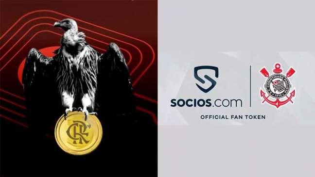Flamengo, Corinthians e outros clubes brasileiros aderiram aos fan tokens (FOTO: Montagem LANCE!)