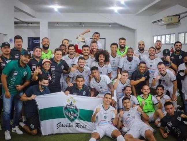 Elenco do Manaus após vencer o Novorizontino, na Série C (Ismael Foto/Divulgação/Manaus FC)