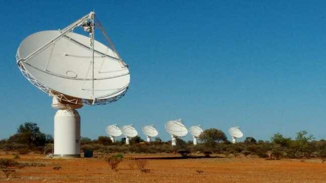 Parte do conjunto de 36 antenas do radiotelescópio ASKAP, que detectou a transmissão misteriosa