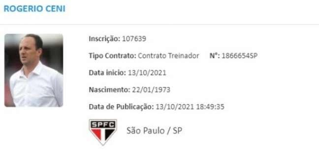 Rogério Ceni apareceu no BID e pode comandar o São Paulo contra o Ceará (Foto: Reprodução/ BID CBF)
