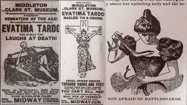 Anúncios de seu programa e ilustração do Chicago Tribune de 1898 (à direita)