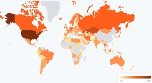 Mapa de mineração de bitcoin de julho mostra 0% de participação da China