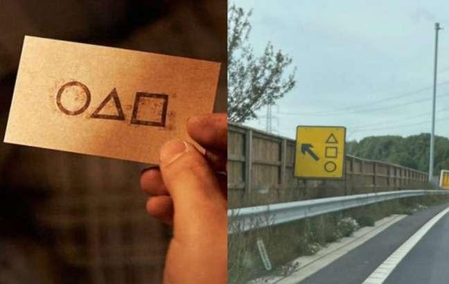 Cartão da série 'Round 6' e placa em estrada da Inglaterra