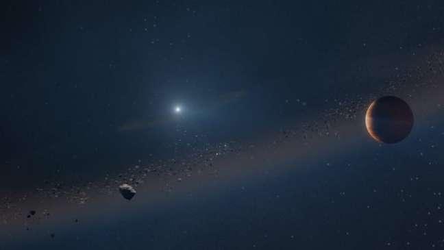 Representação artística de como será o Sistema Solar daqui a 5 bilhões de anos