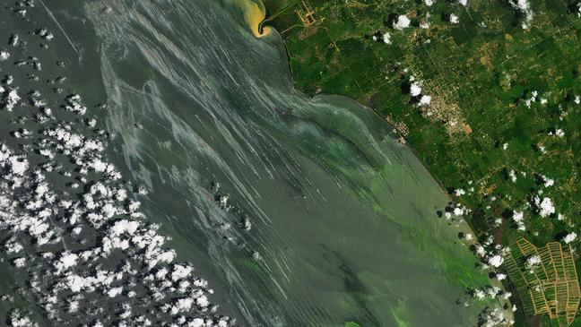 Manchas de petróleo podem ser observadas nas imagens divulgadas pela Nasa