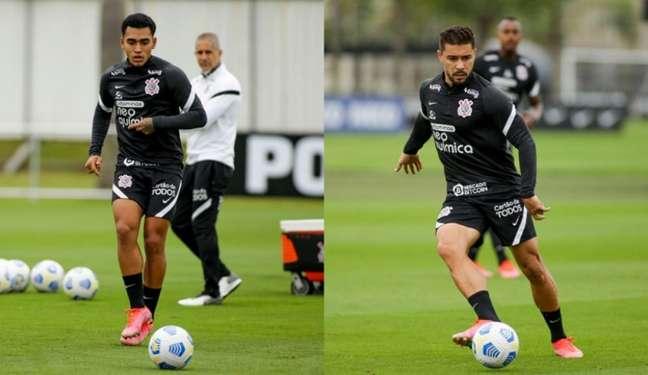 Du Queiroz (à esq.) e João Pedro são as opções de Sylvinho para substituir Fagner (Foto: Montagem/Ag. Corinthians)