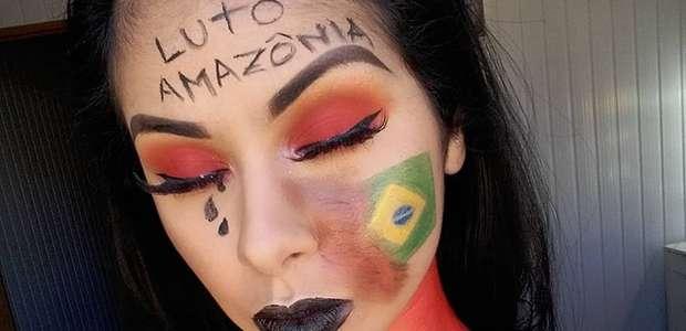 """Artista pinta corpo em """"luto por Amazônia"""" e recebe críticas"""