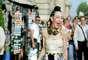 Michelle Harper posa para os fotógrafos antes do desfile de Giambattista Valli