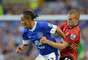Tom Cleverley of Manchester United competes with Steven Pienaar of Everton during the Barclays Premier League match between Everton and Manchester United at Goodison Park on August 20, 2012 in Liverpool, England.