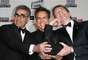 NOVEMBER 15, 2012: Actors Eugene Levy, Ben Stiller, and Martin Short get silly at the 26th American Cinematheque Award Gala at The Beverly Hilton Hotel in California.