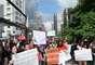 Os manifestantes foram às ruas da capital paulista neste sábado para exigir a saída do pastor da Comissão de Direitos Humanos